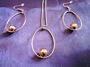 Rose Gold Ellipse Ball Necklace & Earring Set