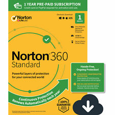 Norton 360 Standard Antivirus software for 1 Device, Digital Download (PC)