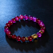 DF6 Natural Lava Stone Beads Pink & Gold Buddha Stretch Bracelet