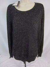 Jeans By Buffalo Black Silver Metallic Blouse Shirt Women's M - GG52 - NWT