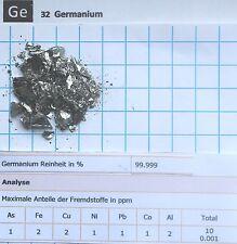 10 gram 99,999% Germanium metalloid pieces 0,1-25 mm element 32 sample