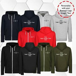 New Adults Personalised Zipper Hoodie Your Name Text Logo Printed Zip Up Hoody