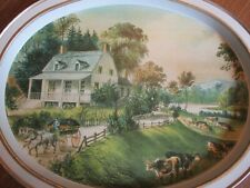 Vintage Currier & Ives Oval Summer American Homestead Metal Tray