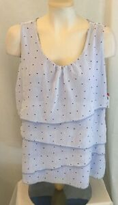 Jacqueline Smith Sleeveless Tiered Tank Top Purple Polka Dot Womans Size L