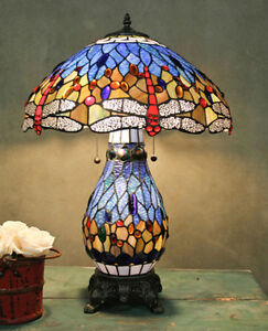 Table Lamp Tiffany Style Blue Stained Glass Shade w/ Red Dragonfly & Lit Base