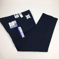 IZOD Men's Flat Front Straight Leg Performance Stretch Dress Pants Navy Blue