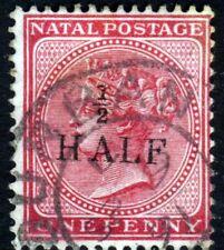 NATAL SOUTH AFRICA QV 1877 ½d. HALF Surcharge on 1d Rose Wmk Crown CA SG 85? VFU