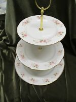 LOVELY VINTAGE DUCHESS  CHINA PLATED 3 TIER CAKE STAND GLEN DESIGN