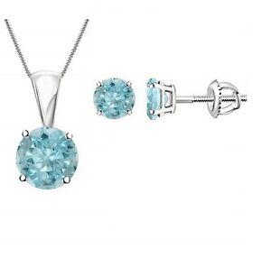 2Ct Round Cut Aquamarine Earring & Pendant Bridal Necklace Set 14k White Gold Fn