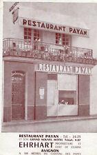 Carte Pub Restaurant PAYAN à AVIGNON Ehrhart Propriétaire Chef de cuisine