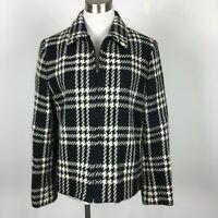 Jones New York M Medium Wool Jacket Black White Plaid Houndstooth Zip Up