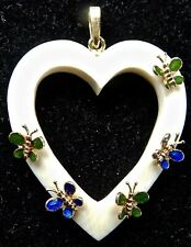 VINTAGE Heart Pendant with 14K Bail and Butterfly Design