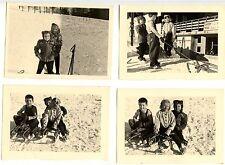 Enfants sport d'hiver luge ski montagne neige - lot 11 photos anciennes an. 1950