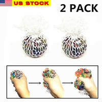 """2x 2.5"""" Squishy Mesh sensory stress reliever ball autism squeeze anxiety fidget"""