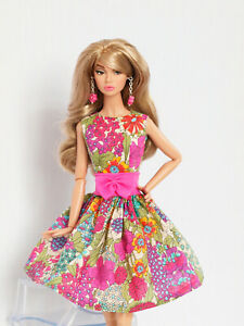 Pink flowered dress for Poppy Parker, Nu face by Olgaomi