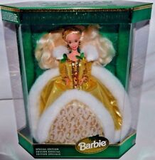 NEW-1994 HOLIDAY BARBIE DOLL-GOLD DRESS WITH FUR TRIM-BEADED ACCENTS & JEWELRY