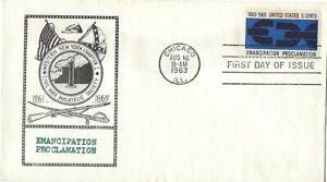 2 1963 FDCs Emancipation Proclamation & West Virginia SC#1232 1233