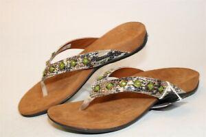 Vionic Womens Size 9 40 Floriana Beaded Flip Flops Flat Comfort Shoes TVW4401