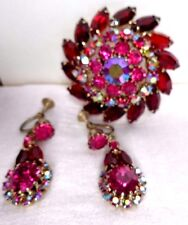 JULIANA BROOCH AND EARRINGS BRILLIANT RUBY RED, PINK, AB  RHINESTONE  WOW FACTOR