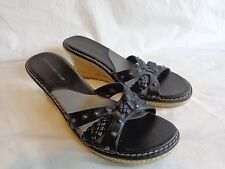 "MONTEGO BAY CLUB Wedge Sandals Size 9 M BLACK 3"" Heels Braid Grommets"