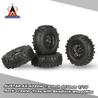 "4Pcs AUSTAR AX-4020C 1.9"" 110mm 1/10 Tires w/ Beadlock Wheel Rim for RC Car E6S5"