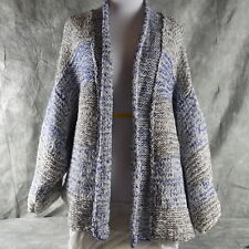 TODAYONLY! VINCE gray/white loose knit open cardigan sweater V264676105 M/L ANB