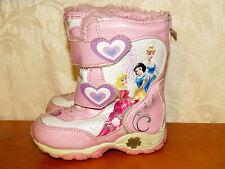 DISNEY Fur Line BOOTS Princess Aurora Cinderella Snow White LIGHTS UP Shoes Sz 7