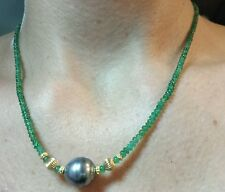 Zambian Emerald 20ct medium green transparency Tahitian pearl 14k gold Necklace