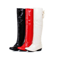 Ladies Shoes Shiny Synthetic Leather Low Cuban Heel Knee High Boots UK Size b068