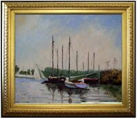 Framed, Claude Monet Boat Argenteuil Repro, Hand Painted Oil Painting 20x24in