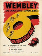 LONDON INTERNATIONAL 6 DAY CYCLE RACE at WEMBLEY 1-7 MAY 1938 PROGRAMME
