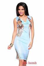 SEXY abito leopard AZZURRO taglia S/M, M/L (40/42,42/44) STRASS fashion GLAMOUR