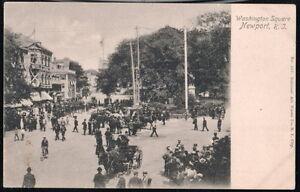NEWPORT RI Folks In Washington Square Horse & Buggy Antique Postcard Town View