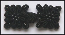 6 pairs black bead square Chinese Frogs knot Closure buttons fasteners Cheongsam