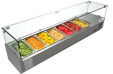 """Countertop Condiment Refrigerated Prep Station with Glass Sneeze Guard 59"""" 7 Pan"""