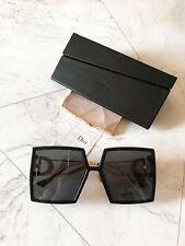 New Dior 30Montaigne Unisex Grey Lens Black/Gold Square Frame Sunglasses