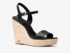 Michael Kors Jill Leather Wedge Black Women's sizes 5-11/NEW