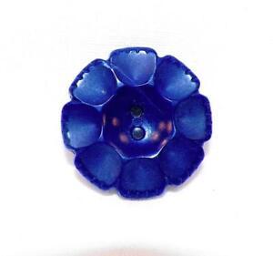 3 Vintage Buttons Navy Blue Flowers Plastic Filagree Girls Dress Retro