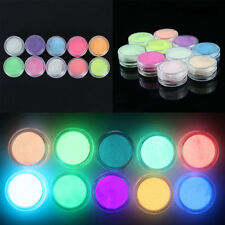 10Pcs / Set Neón Colores  Acrílico fluorescente polvo uñas Manicura Decoración
