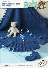 "UKHKA 48 Baby Shawl Matinee Coat Shoes DK 14-18"" Knitting Patterns"