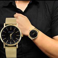 Luxus Golden Herren Uhr Armbanduhr Edelstahl Klassisch Analog Quarz Watch
