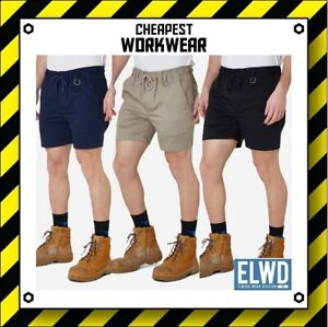 ELWD   Elwood Workwear   MENS ELASTIC WORK SHORTS   Navy Khaki Black ws2 EWD204