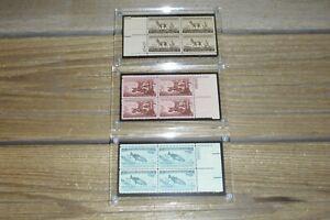 Vintage Wildlife Conservation Stamp Blocks (3) King Salmon Wild Turkey Antelope