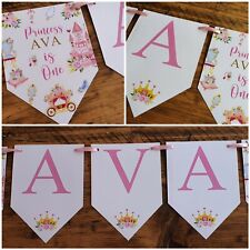 Personalised PRINCESS PARTY 1st 2nd 3rd 4th 5th Birthday Banner Bunting  ANY AGE