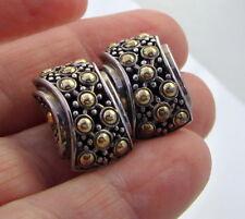 Estate Vintage John Hardy Sterling Silver 18K Gold DOT 9.8 Gram Pierced Earrings