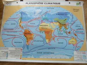 CARTE SCOLAIRE MDI Plastifiée réversible Planisphère Climatique et Végétation