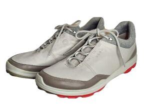ECCO Biom Hybrid 3 GTX Golf Shoes Mens US 9M EU 43 Concrete Scarlet Yak Leather
