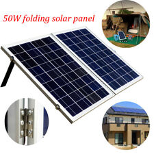 50W Portable Folding Solar Panel charging 3A controller kit 10ft cable + clips