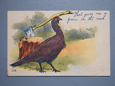 R&L Postcard: Pain in the Neck, Turkey Bird, Log Axe, Early Comic Thanksgiving