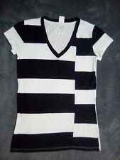 NEW!! XS 6 8 ARMANI EXCHANGE black & white top blouse t shirt unusual designer